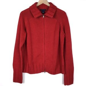 Ann Taylor Sweater Jacket XL Solid Red Full Zipper